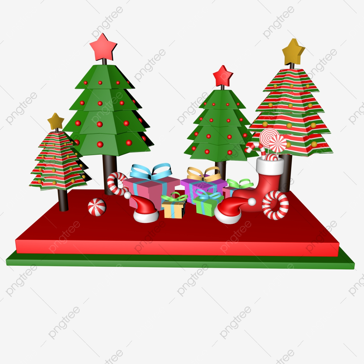 C4d Christmas Tree Gift Hat Sock Candy Scene C4d Christmas Christmas Tree Png Transparent Image And Clipart For Free Download
