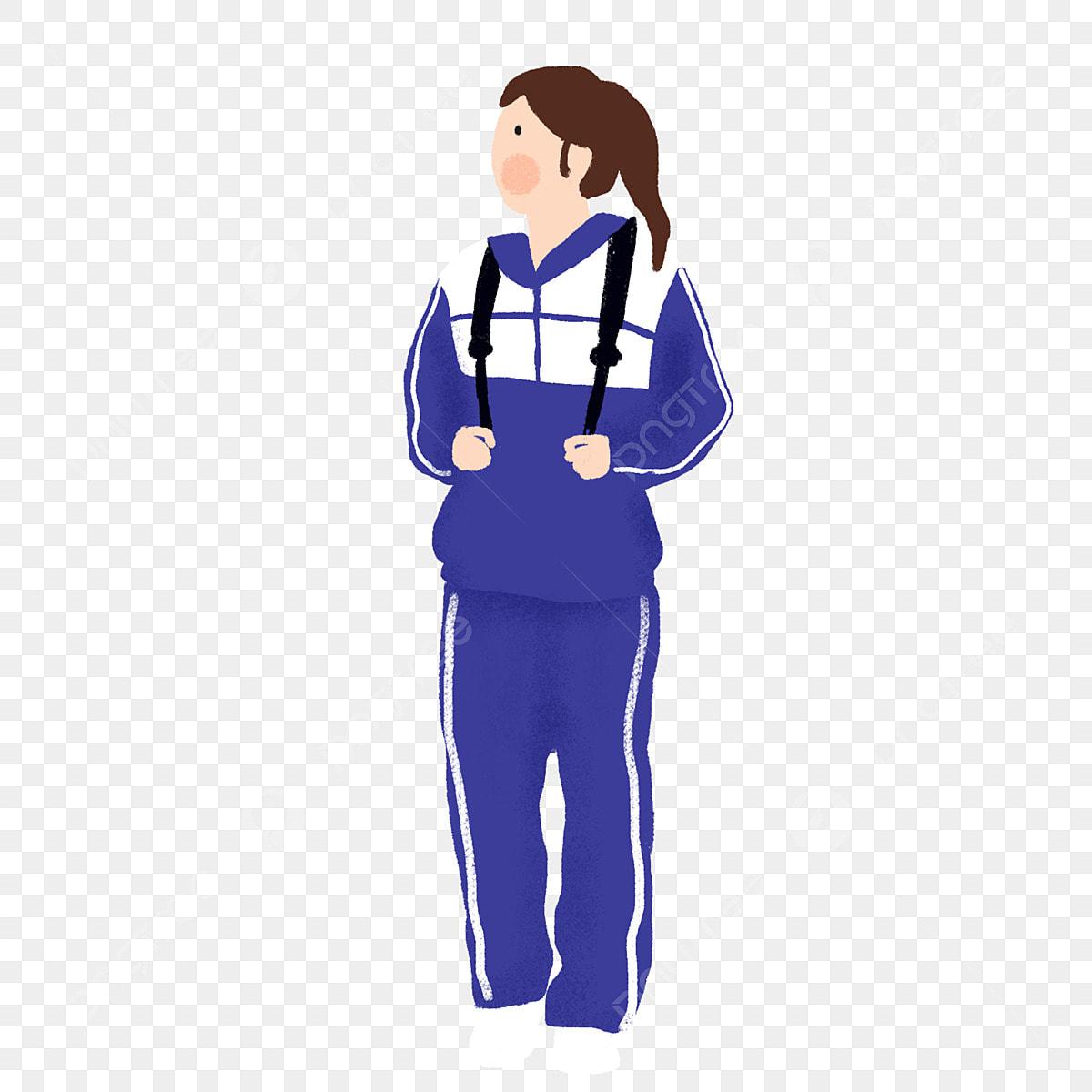 Cartoon Beauty Elements Wearing Blue School Uniform Beauty