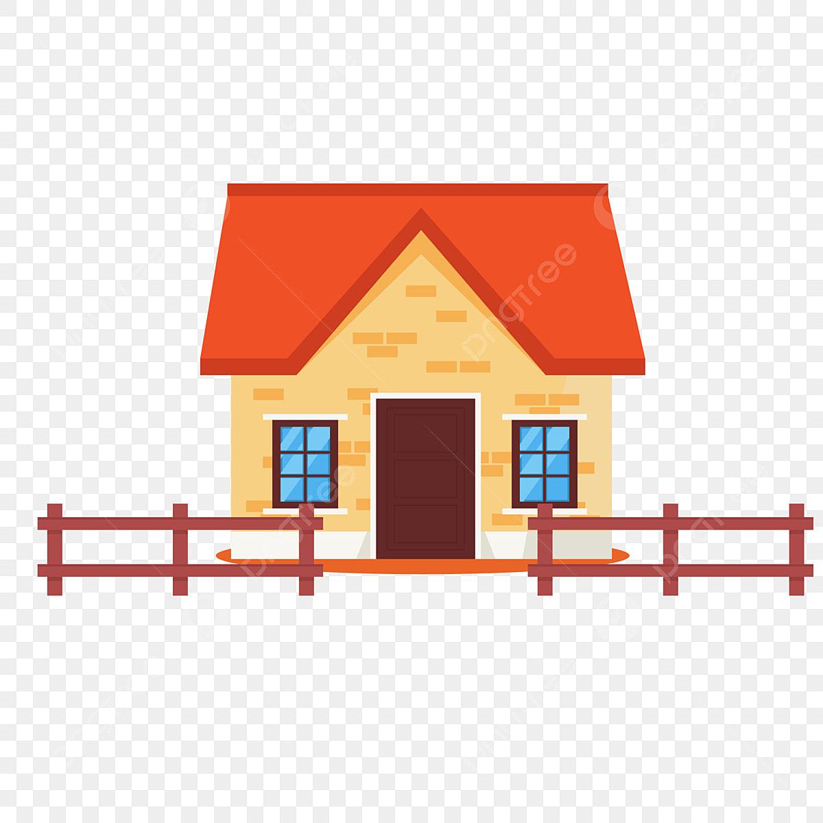 Cartoon Colorful Rural House Design Element Cartoon Color