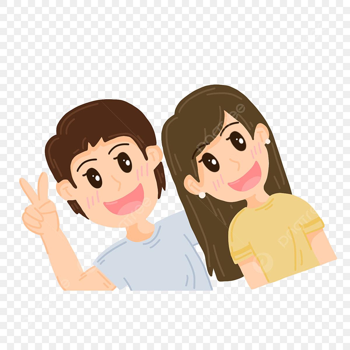 Pasangan Kartun Lucu Gembira Mengambil Gambar Fotografi