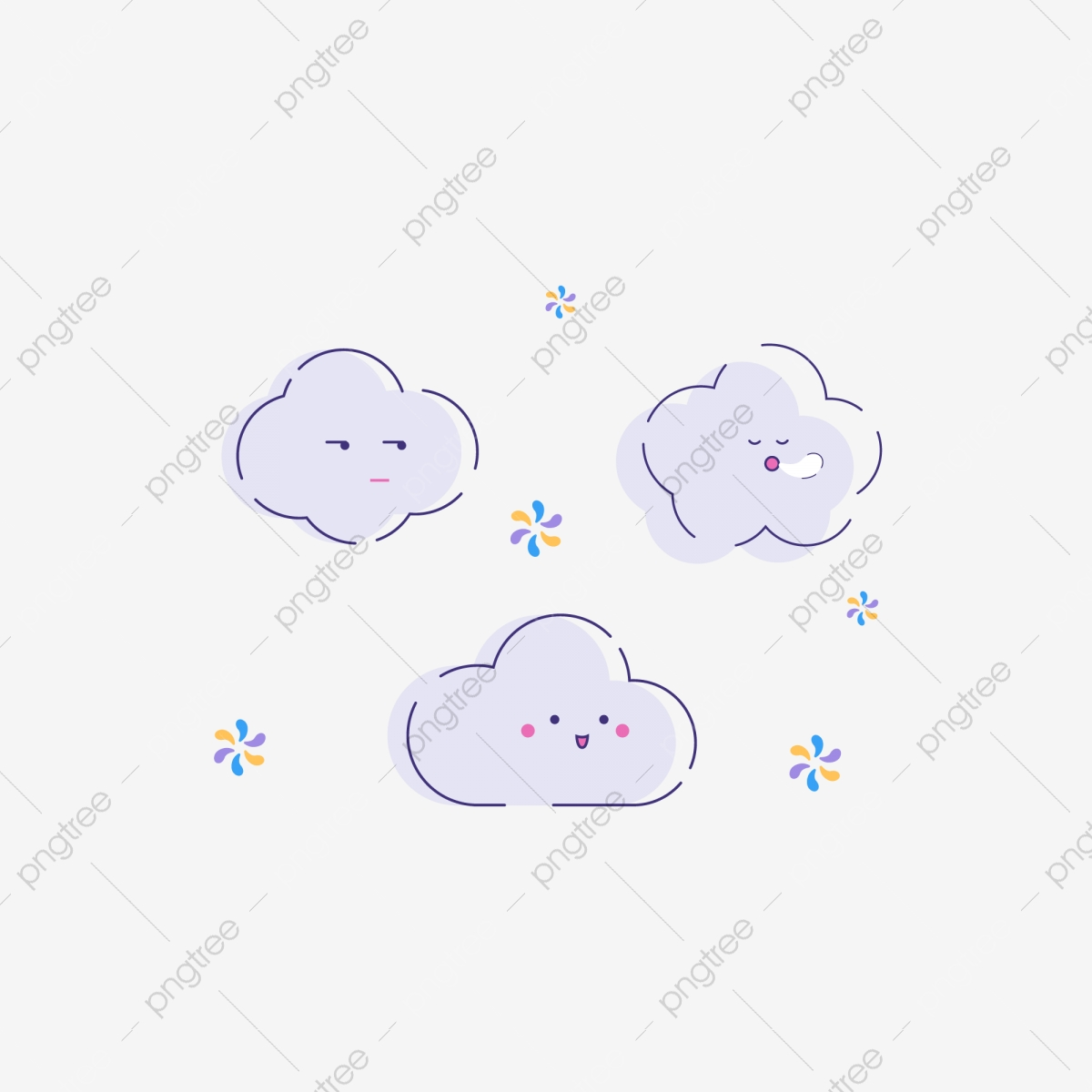 Cartoon Cute Mbe White Clouds Element Design Cartoon Lovely Mbe