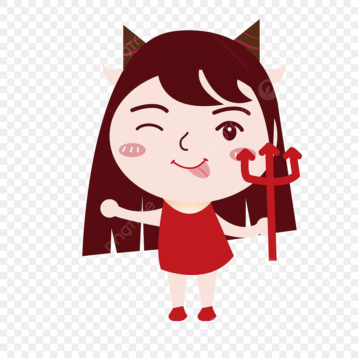 Capricorn element cartoon. Funny girl ai character