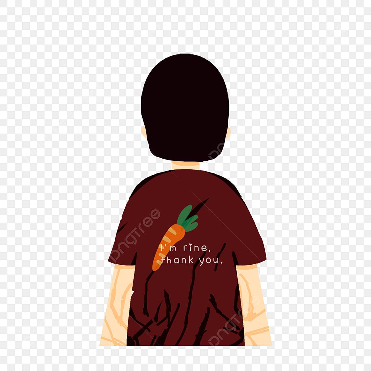 Tee Shirt Dessin Animé Petite Fille Vue De Dos Avec Un