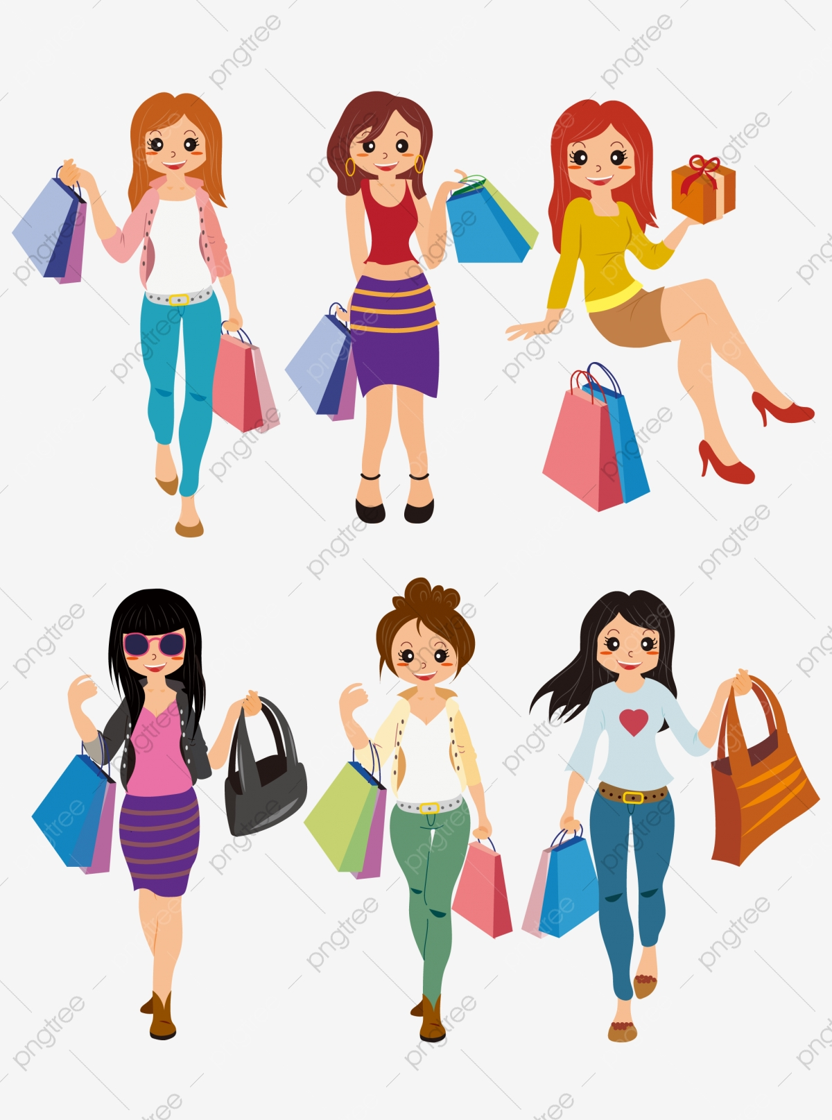 Cartoon Mall Fashionista Hipster Business Girl Element ...