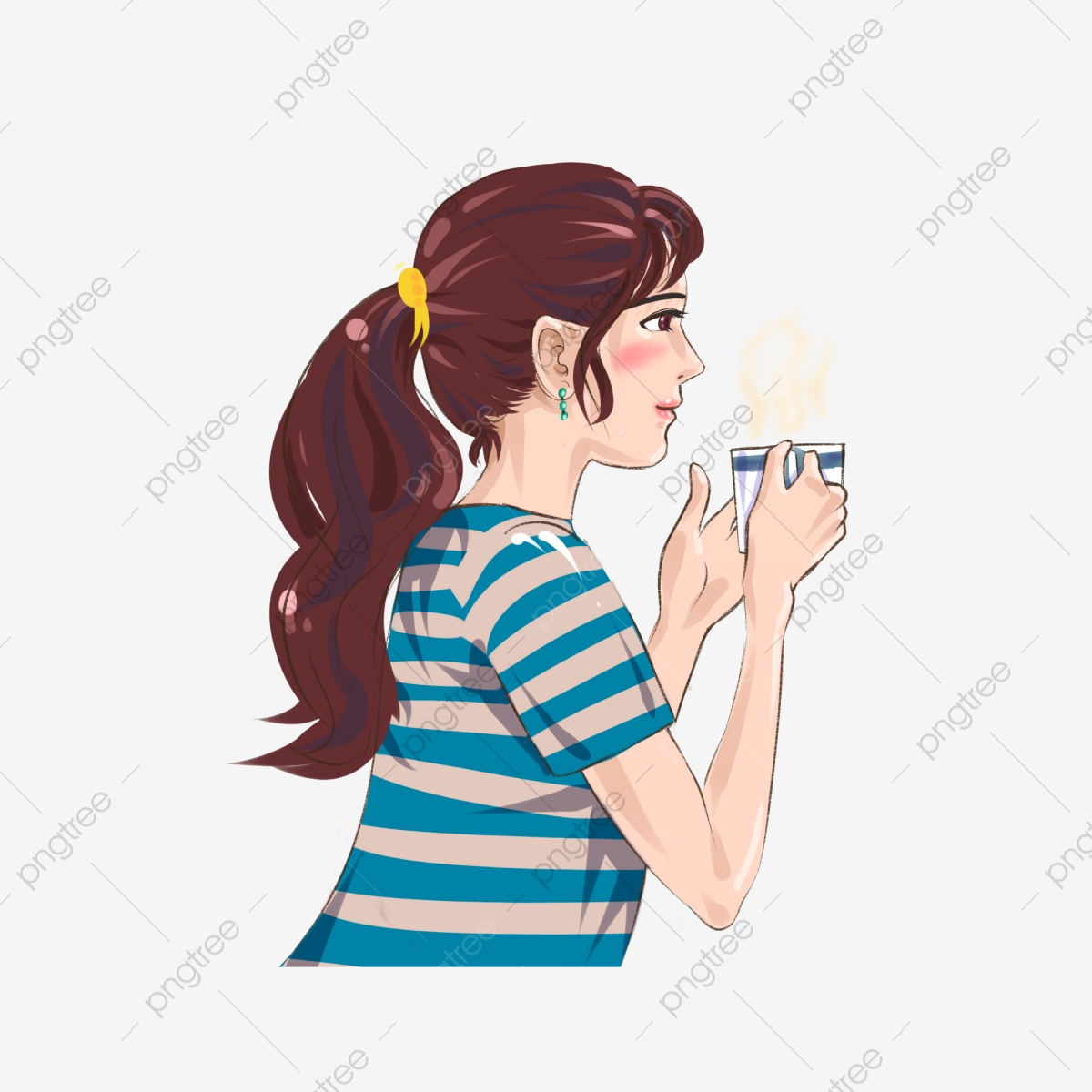 cartoon woman drinking coffee side element drink coffee woman cartoon png transparent image and clipart for free download https pngtree com freepng cartoon woman drinking coffee side element 4072784 html