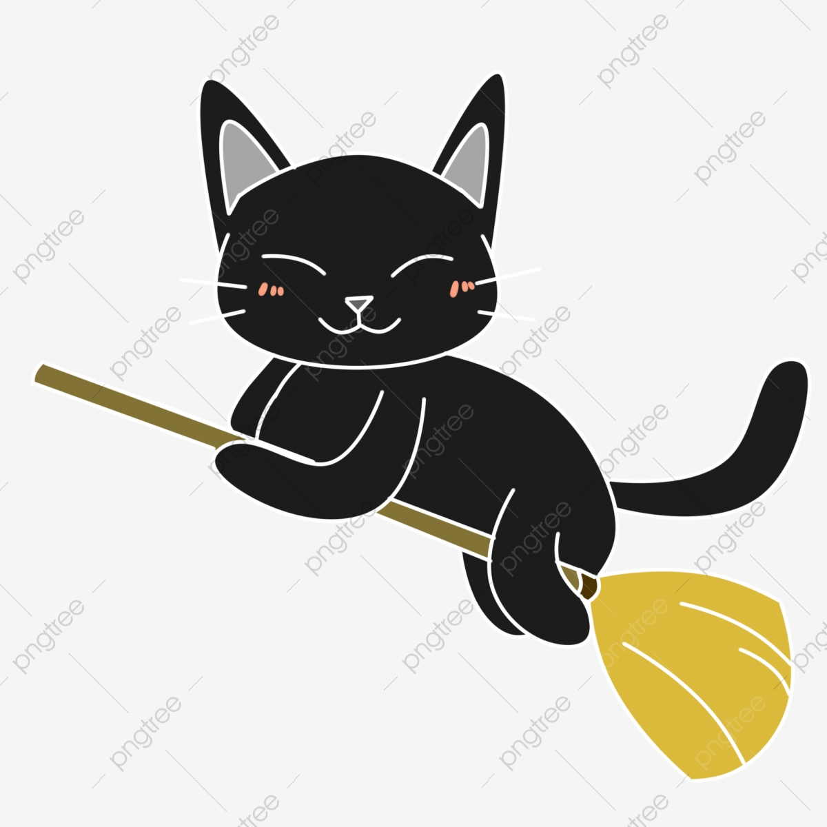 Cute Cartoon Fresh Halloween Black Cat Element Lovely Cartoon Halloween Png Transparent Clipart Image And Psd File For Free Download