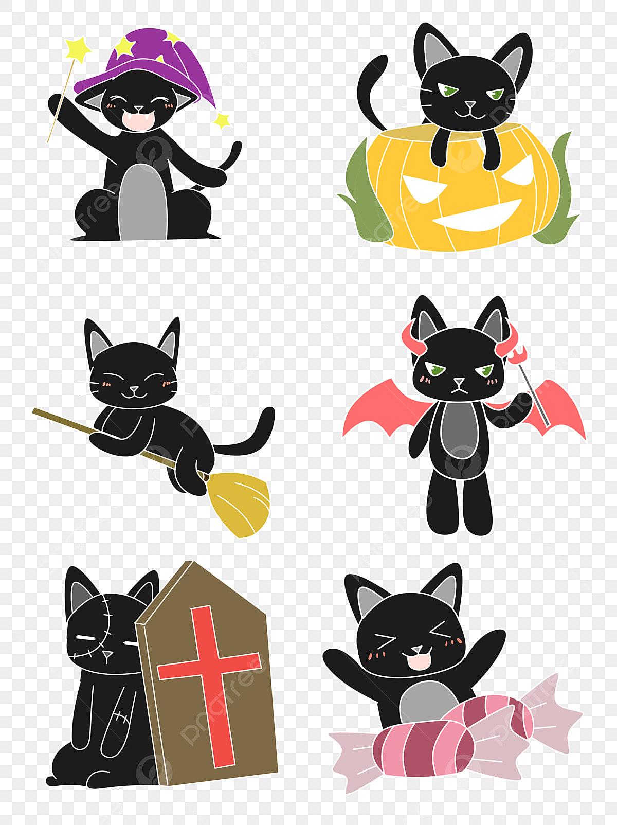 Chat Noir Mignon De Halloween Dessin Animé Mis Illustration