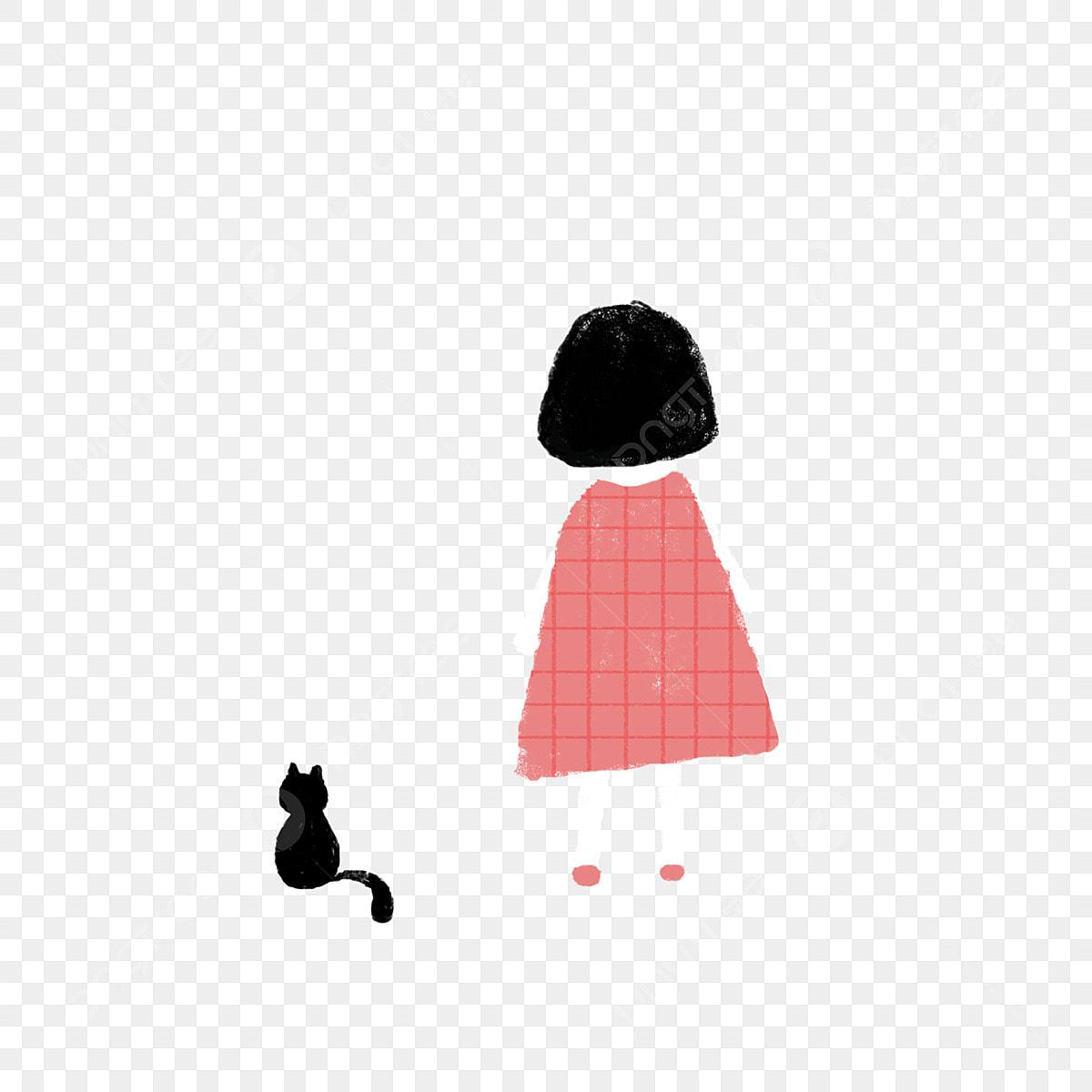 Jolie Petite Fille Et Son Dos De Chaton Dessin Animé