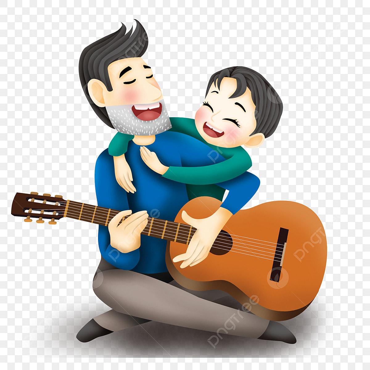 Pai Filho Tocando Violao Dia Elemento Desenho Pai E Filho