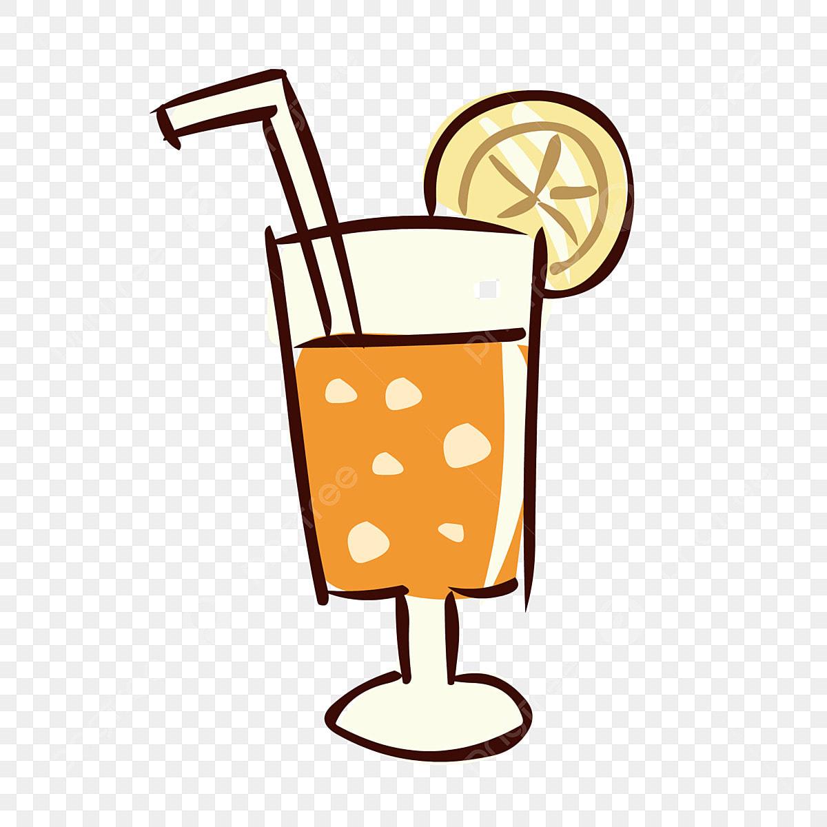 Unsur Makanan Tangan Ditarik Jus Minuman Kartun Comel Elemen