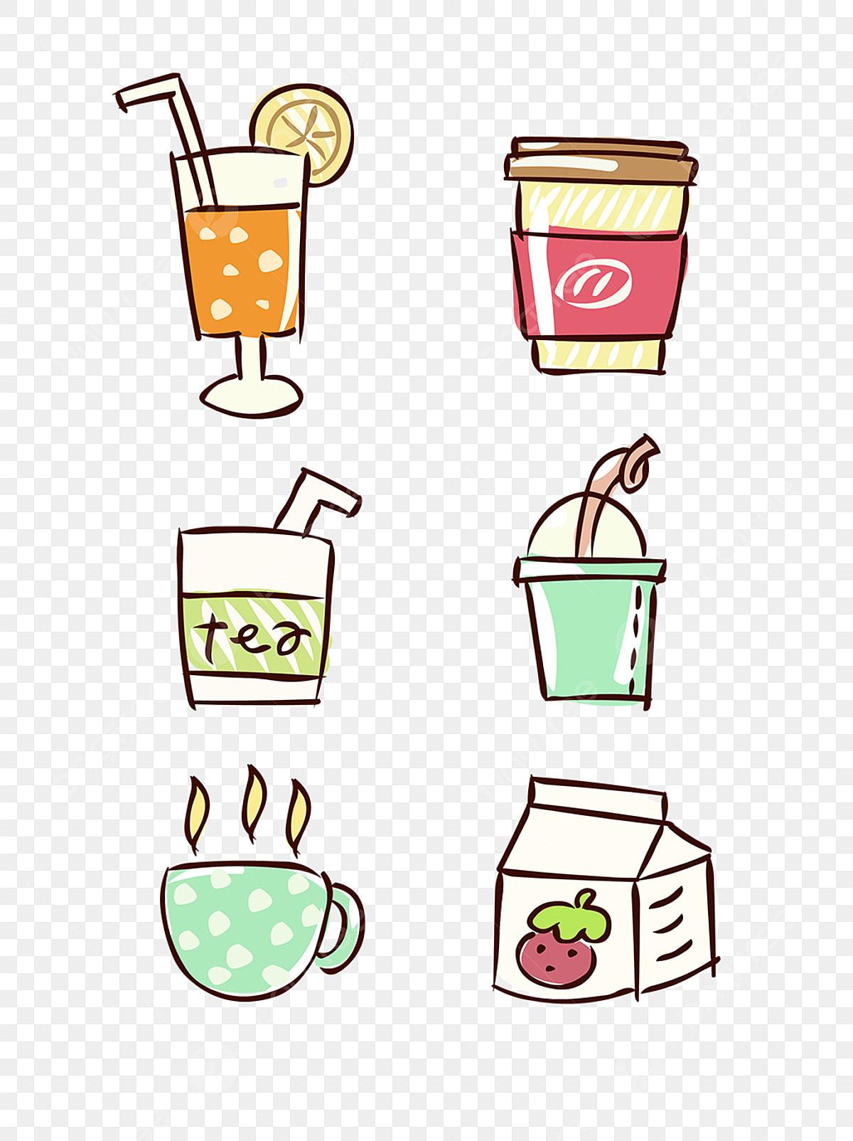 Unsur Makanan Tangan Ditarik Siri Minuman Kartun Comel Elemen