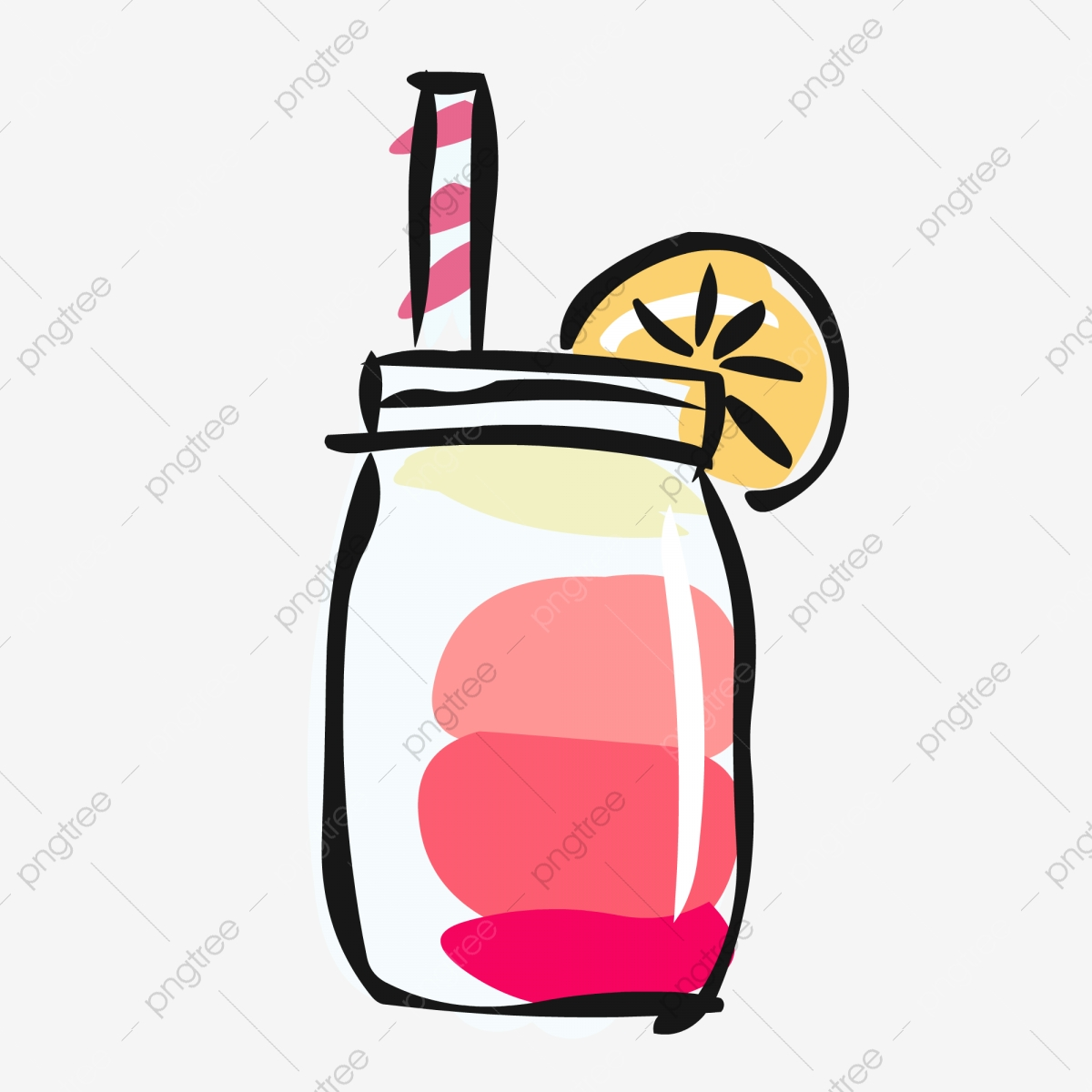 Elemen Makanan Tangan Disediakan Minuman Kartun Comel Elemen