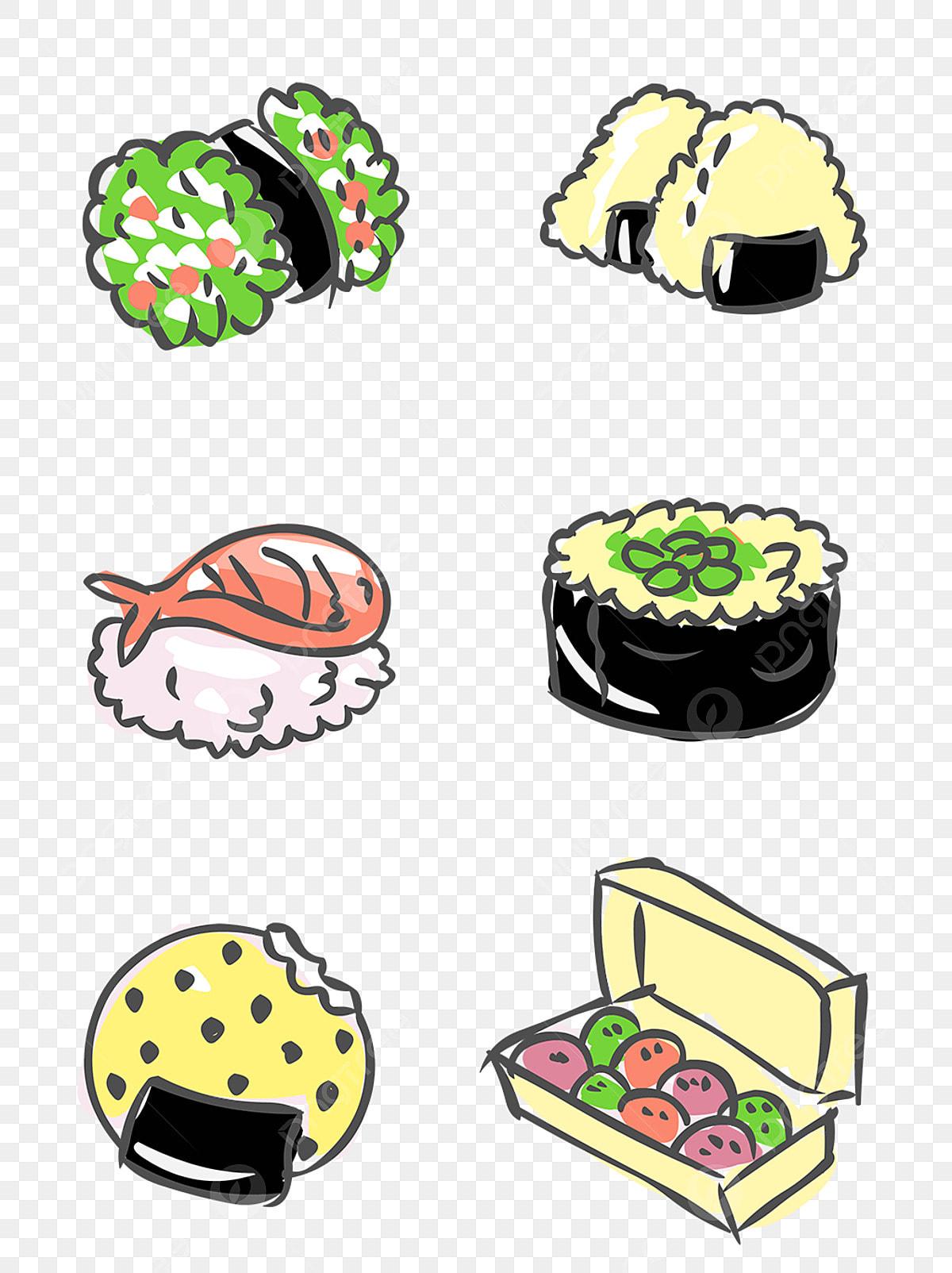 Elementos De Comida Dibujado A Mano Cocina Japonesa Dibujos