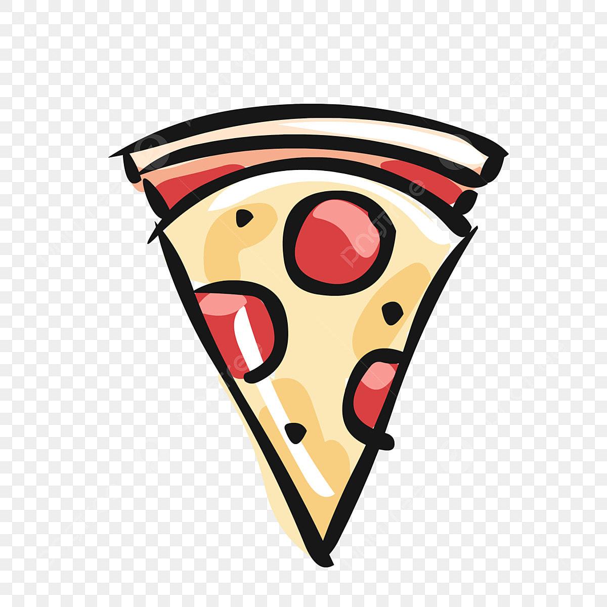 Unsur Makanan Tangan Disediakan Pizza Kartun Comel Elemen Makanan
