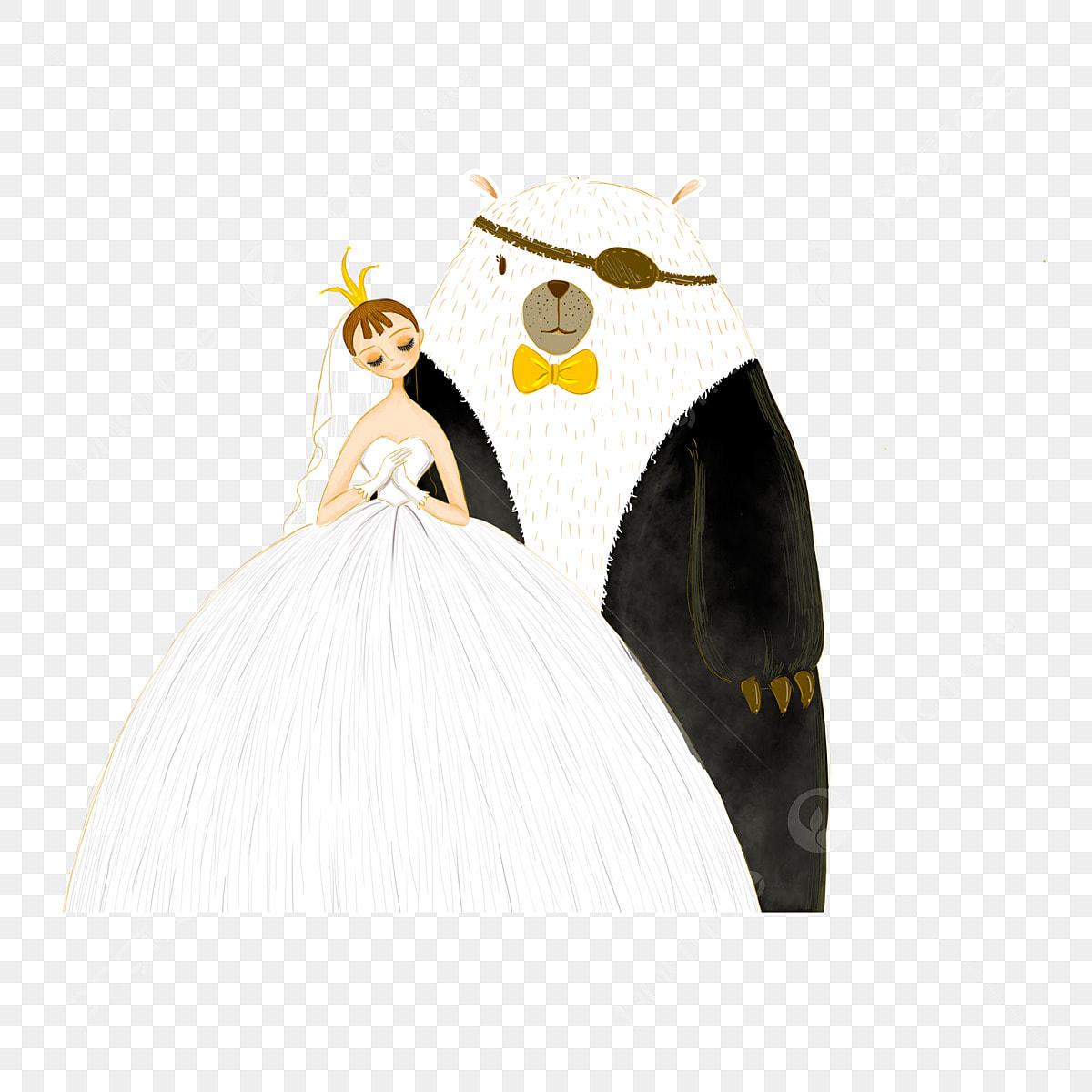 Gambar Gadis Memakai Gaun Pengantin Yang Mahkota Dan Unsur Kartun