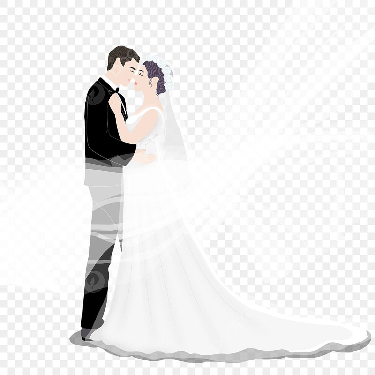 Peluk Tangan Pasangan Kartun Berpakaian Kamera Perkahwinan