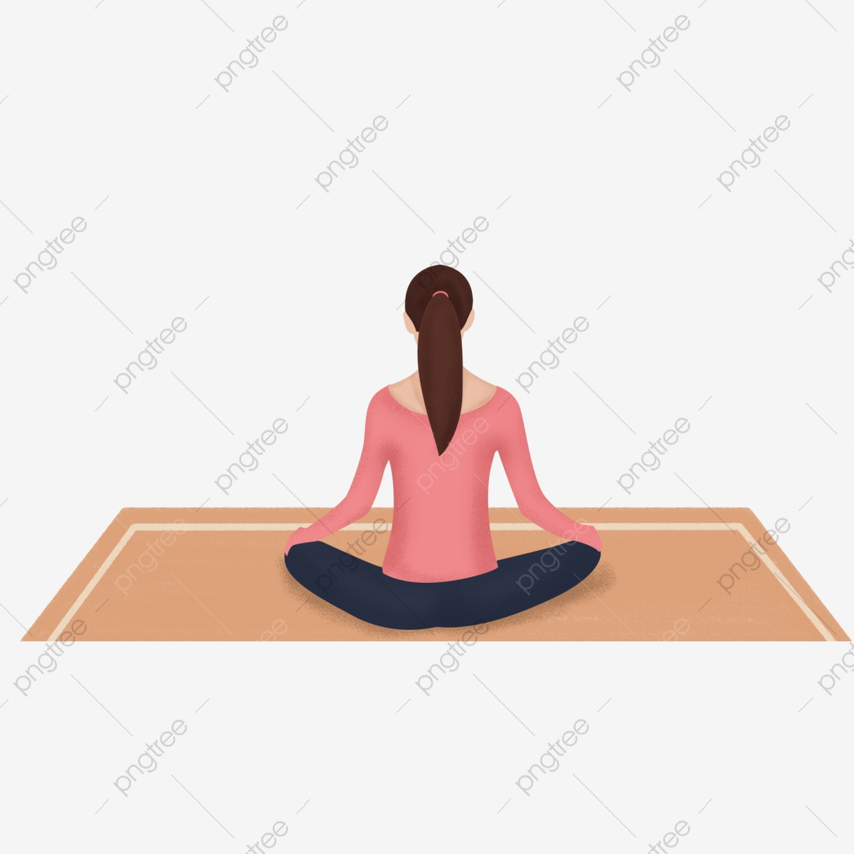 Hand Drawn Girl Doing Yoga Back View Design Painted Fitness Yoga Png Transparent Image And Clipart For Free Download
