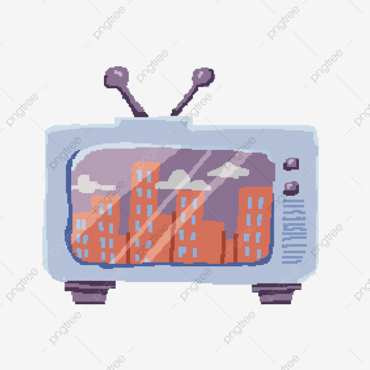 Hand-painted 80 Retro Cable Tv Pixelated Design, Hand