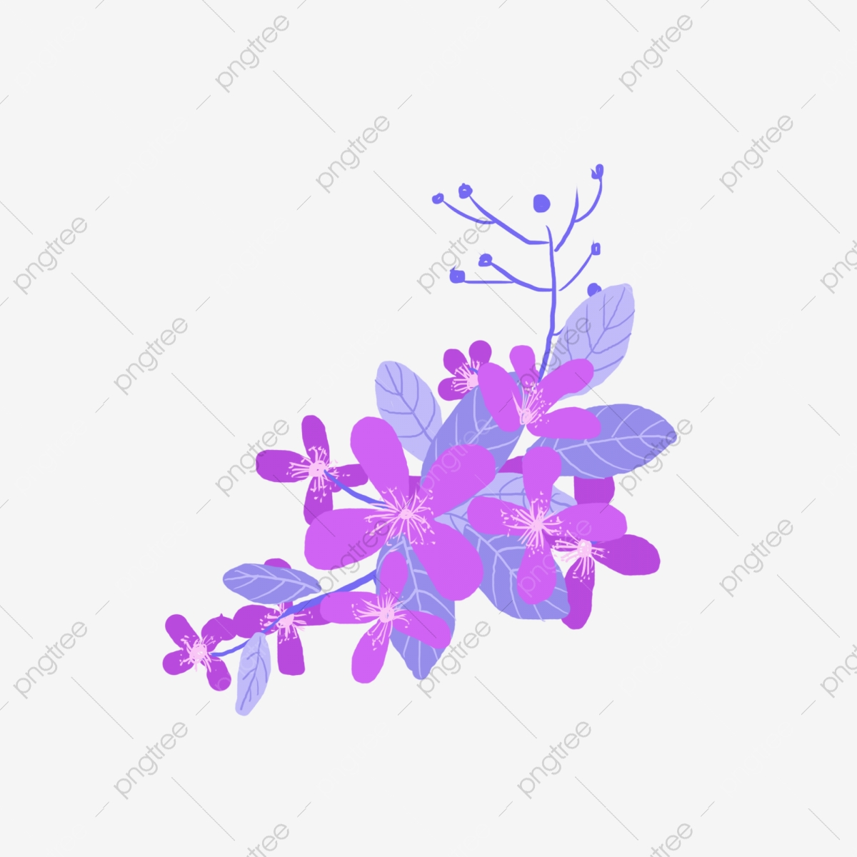 Hand Painted Purple Floral Commercial Elements Flower Pink