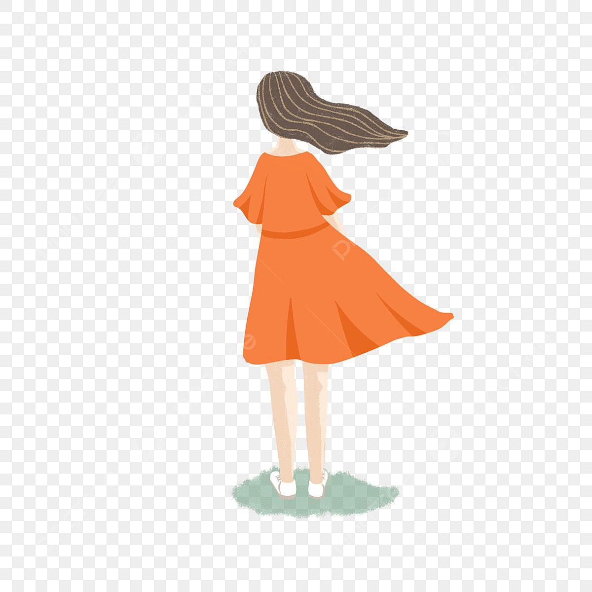 Gambar Kartun Wanita Rambut Panjang Gambar Wanita Kartun Berambut Panjang Yang Memakai Pakaian Oren Orange Rok Panjang Rambut Panjang Png Dan Psd Untuk Muat Turun Percuma
