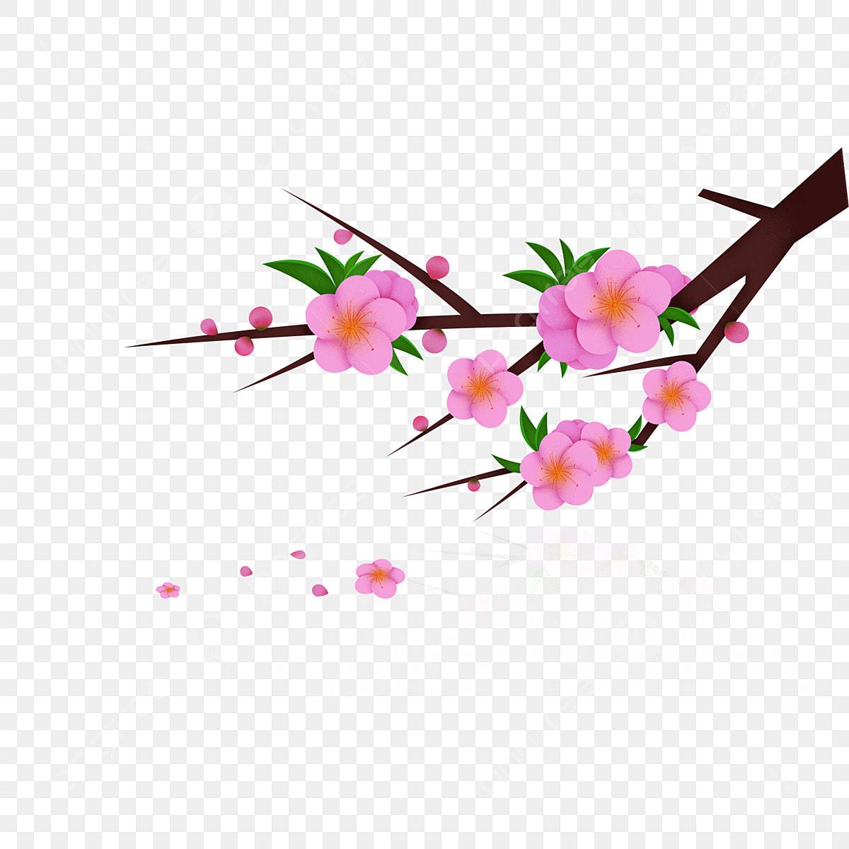 élément De Modèle Branche Pêche Rose Branche De Fleur