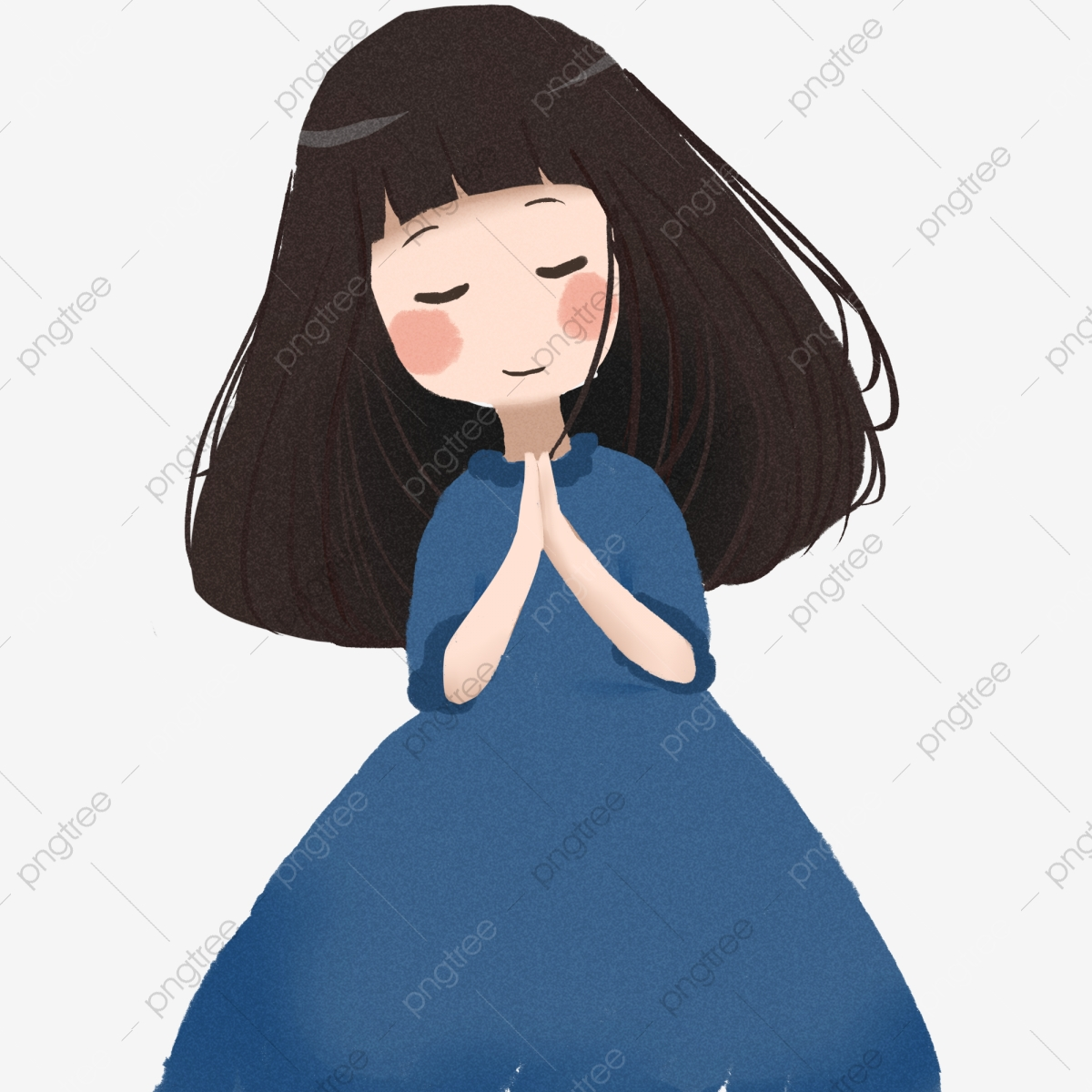 Praying Cute Girl Decorative Elements Long Hair Beautiful Teenage Girl Png Transparent Clipart Image And Psd File For Free Download