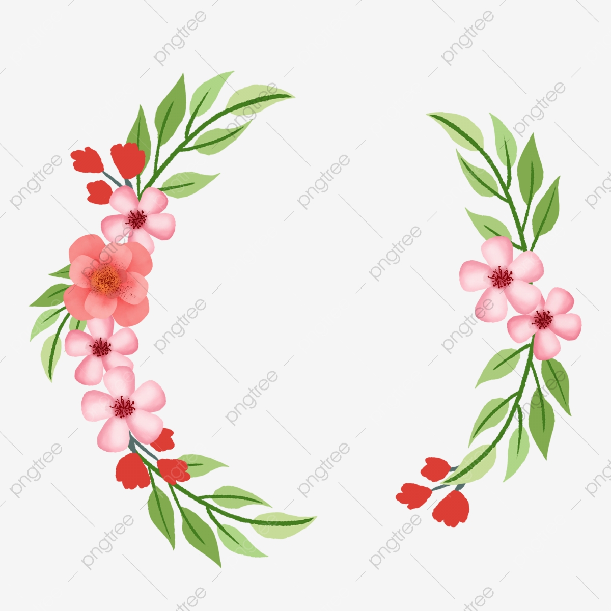 Simple Hand Drawn Wind Floral Border Design Element Drawn Style