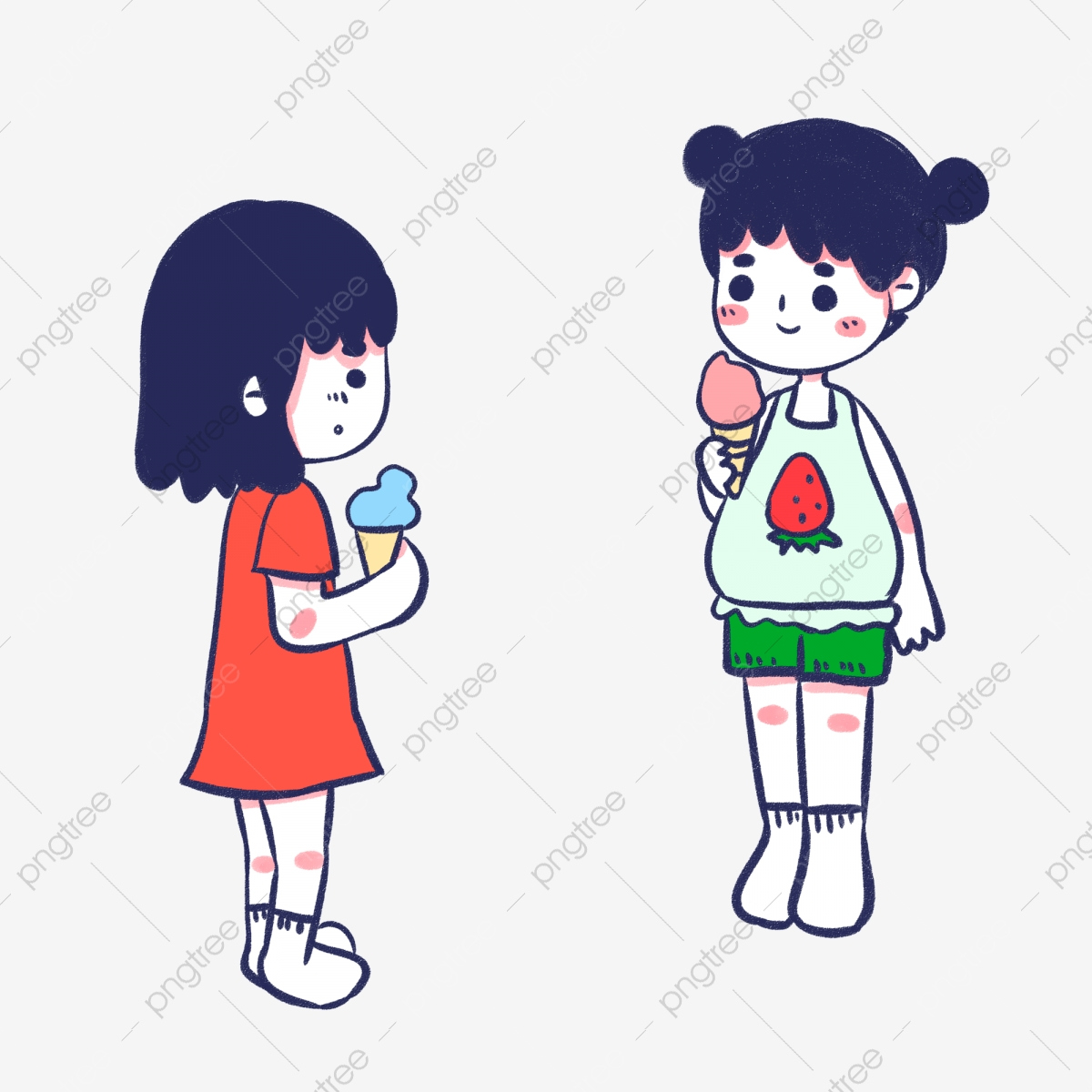 Sisters Cartoon Character Design Eating Ice Cream Hand
