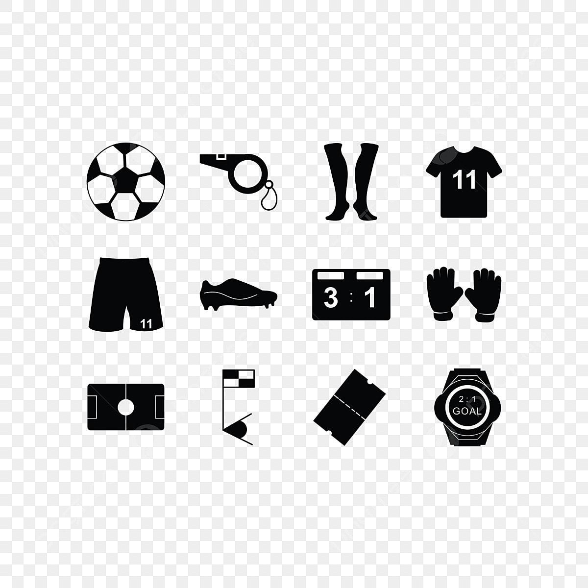 Fussball Icon Set Feste Ball Uhr Bereich Png Und Vektor