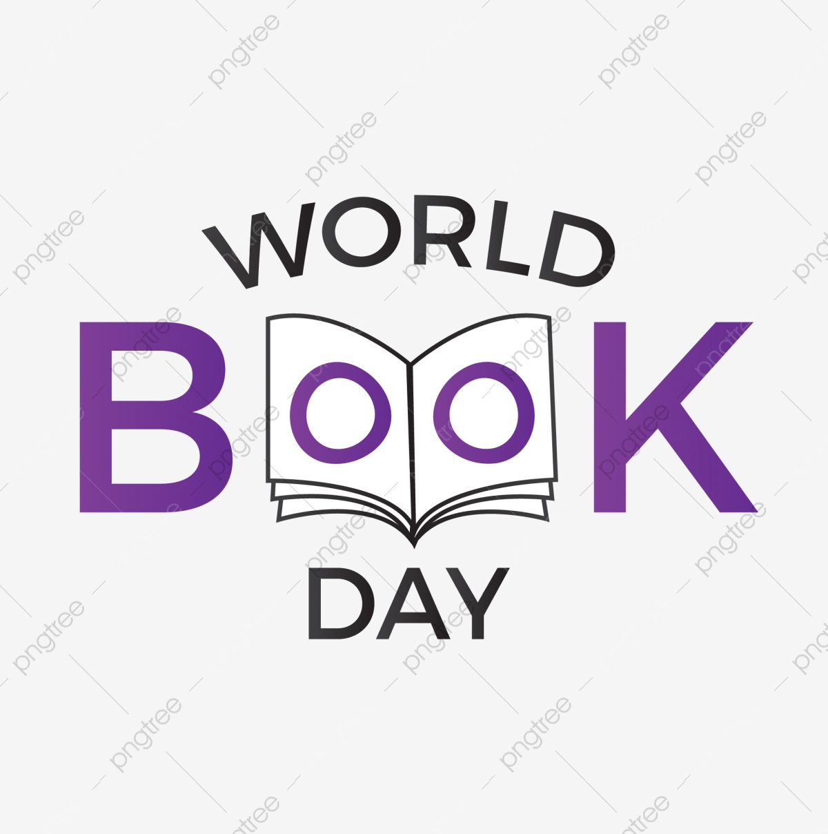 World Book Day Lettering Typography With Book Illustration