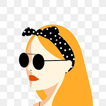 retro style yellow summer feminine elements, Hair Band, Sunglasses, Retro Style PNG and PSD