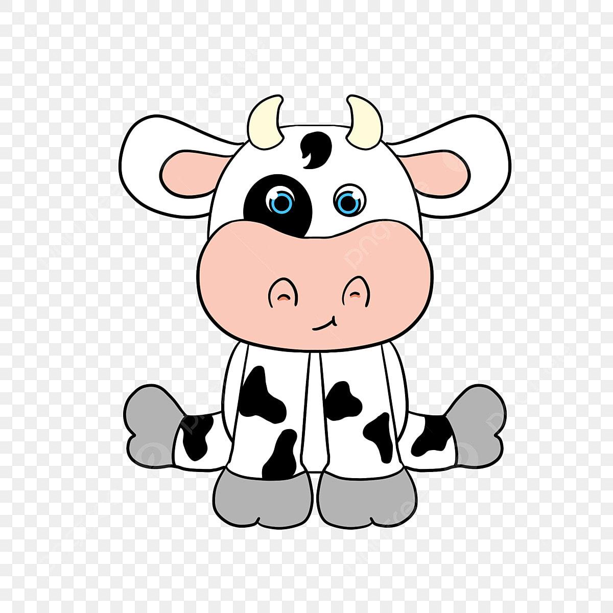Hitam Dan Putih Yang Lucu Kartun Sedikit Lembu Haiwan