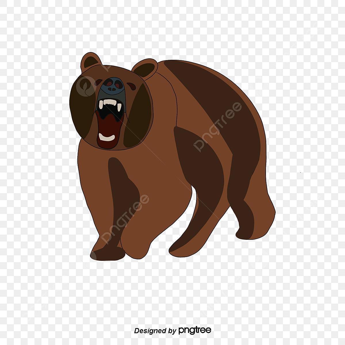 Coklat Kartun Lukisan Tangan Beruang Besar Unsur Unsur