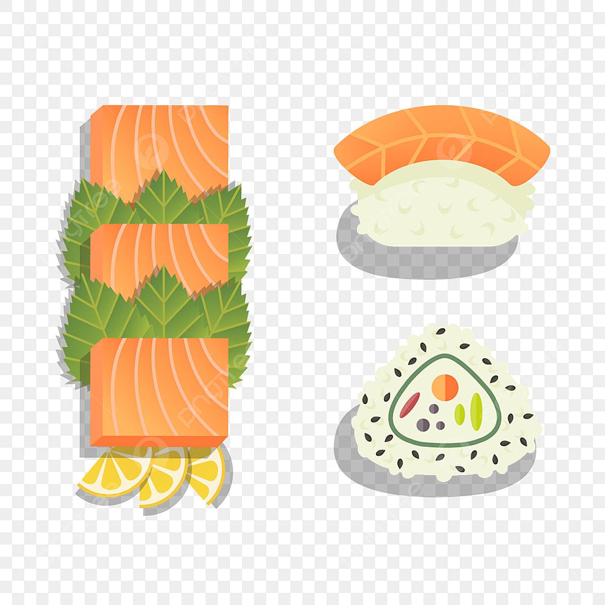 Los Elementos De La Cocina Japonesa De Dibujos Animados Salmon