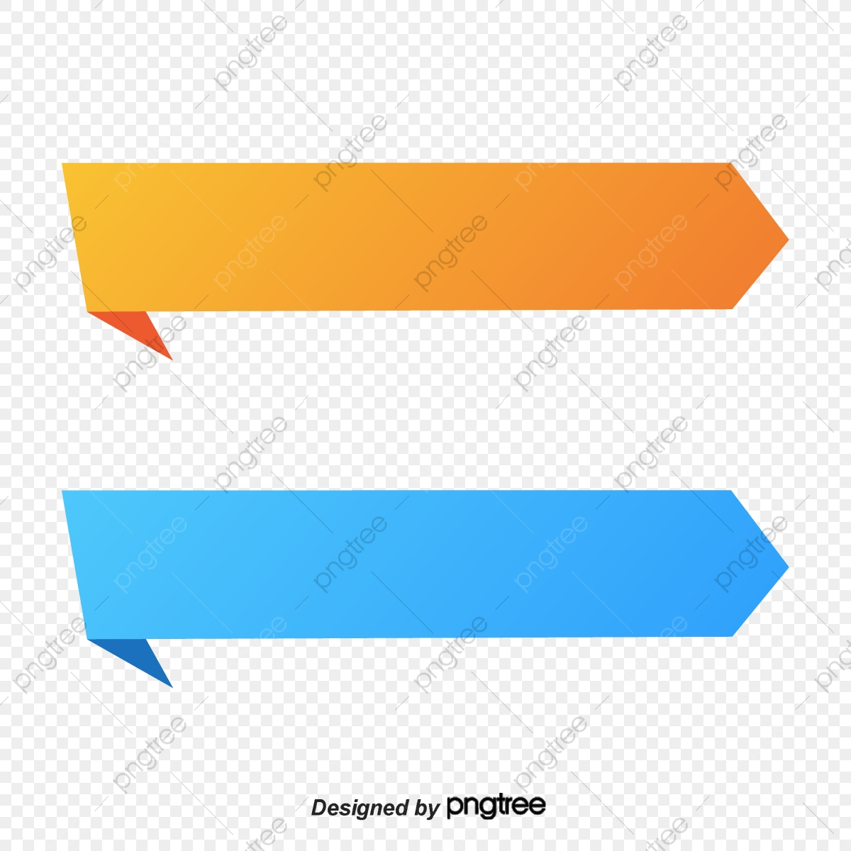 Commercial Gradual Blue And Yellow Ribbon Banner Label Banner Ribbon Banner Business Png And Vector With Transparent Background For Free Download