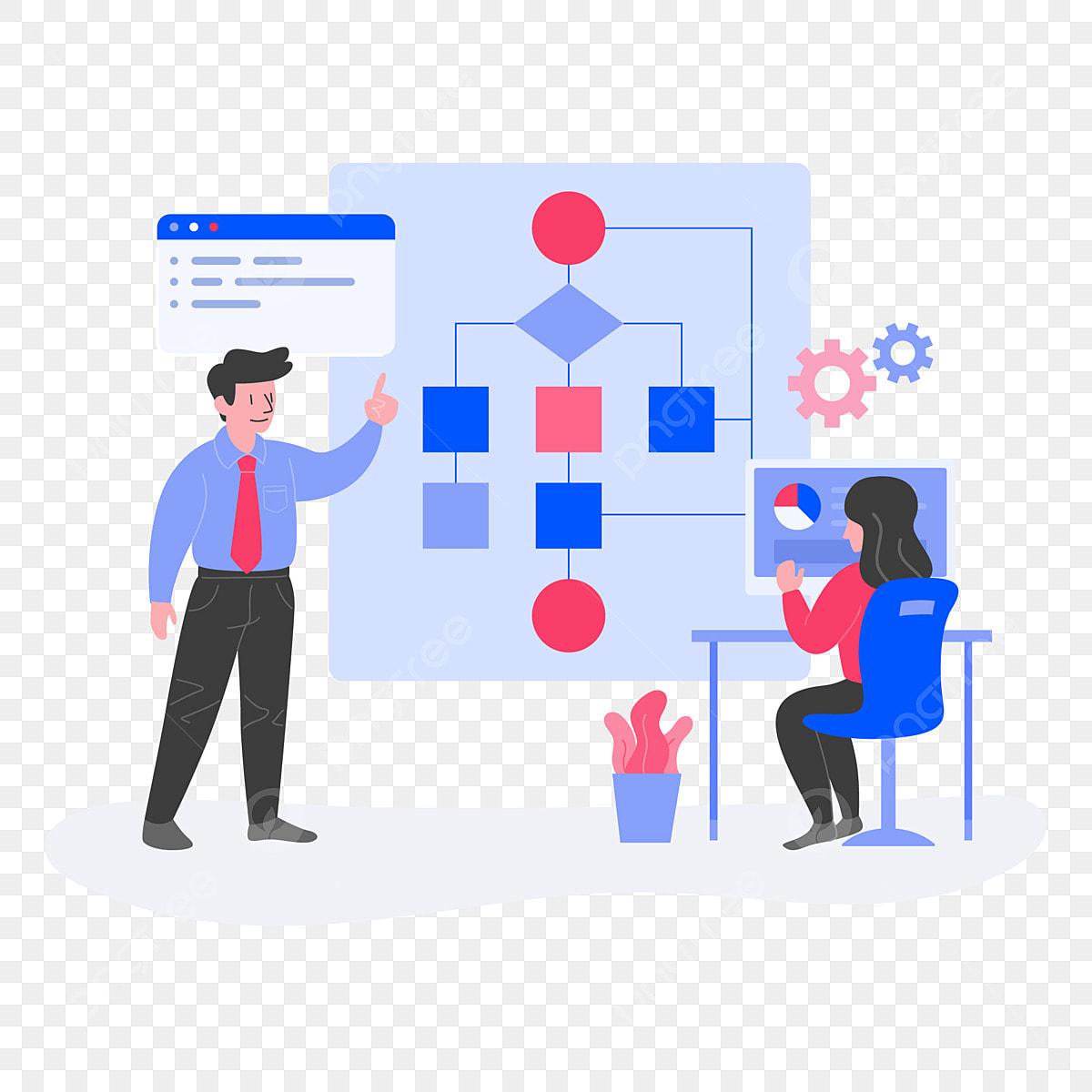 Komputer Algoritma Ilustrasi Konsep Rata Bentuk Konsep