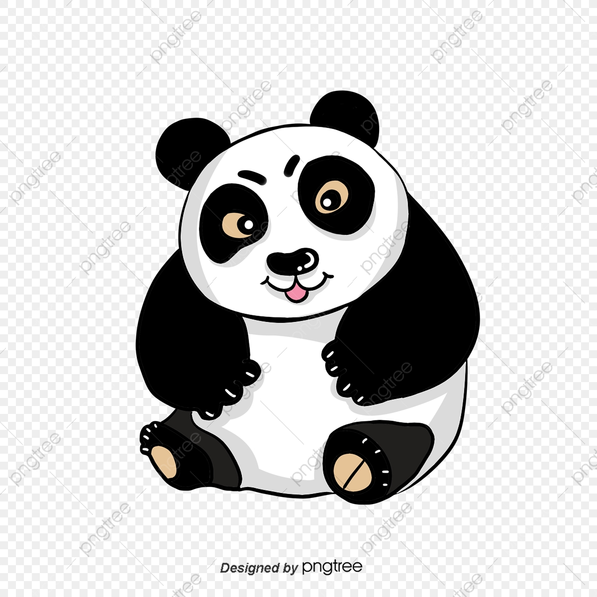 Tangan Berwarna Hitam Dan Putih Yang Lucu Kartun Panda
