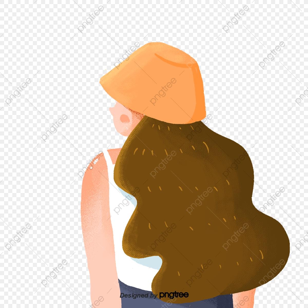 Dessin Animé Cheveux Longs Dos De Fille Carton Dos été
