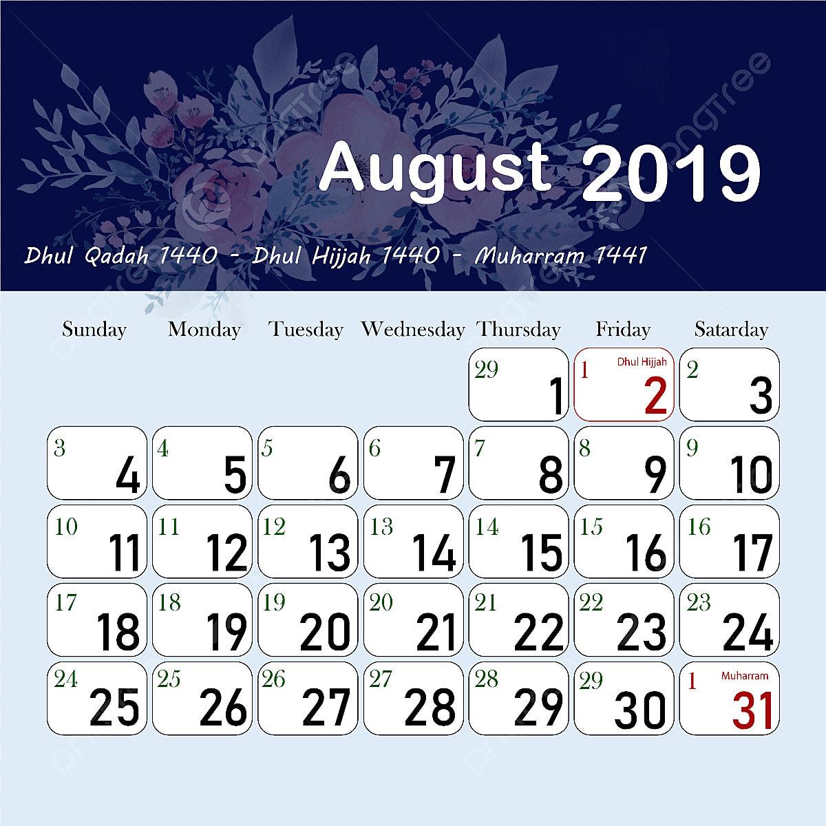Dhul Hijja 2019 Calendrier.Islamic Hijri Calendar August 1440 2019 1440 1441 1440