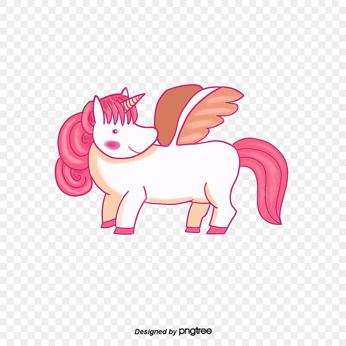 Pink Strok Rata Unicorn Ilustrasi Gambar Kartun Elemen