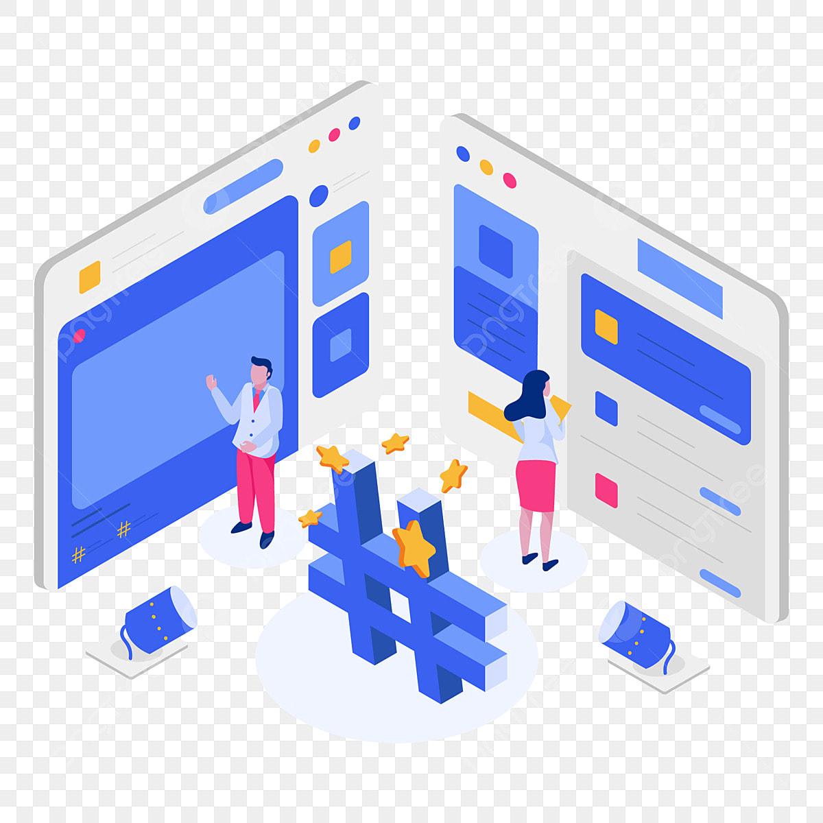 Social Media Hashtags Isometric Illustration Concept