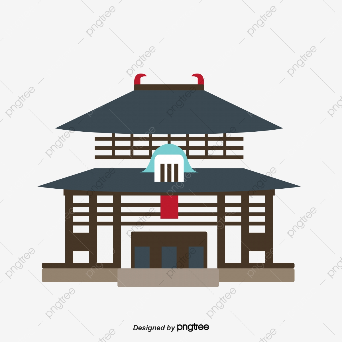 Temple Texas Traditional Home: Vector Geometry Abstract Japanese Illustration Of Landmark