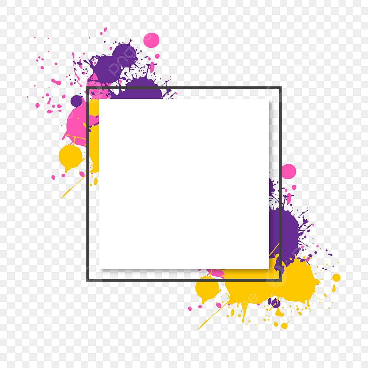 Vibrant Colorful Brush Splash Frame And Border, Brush
