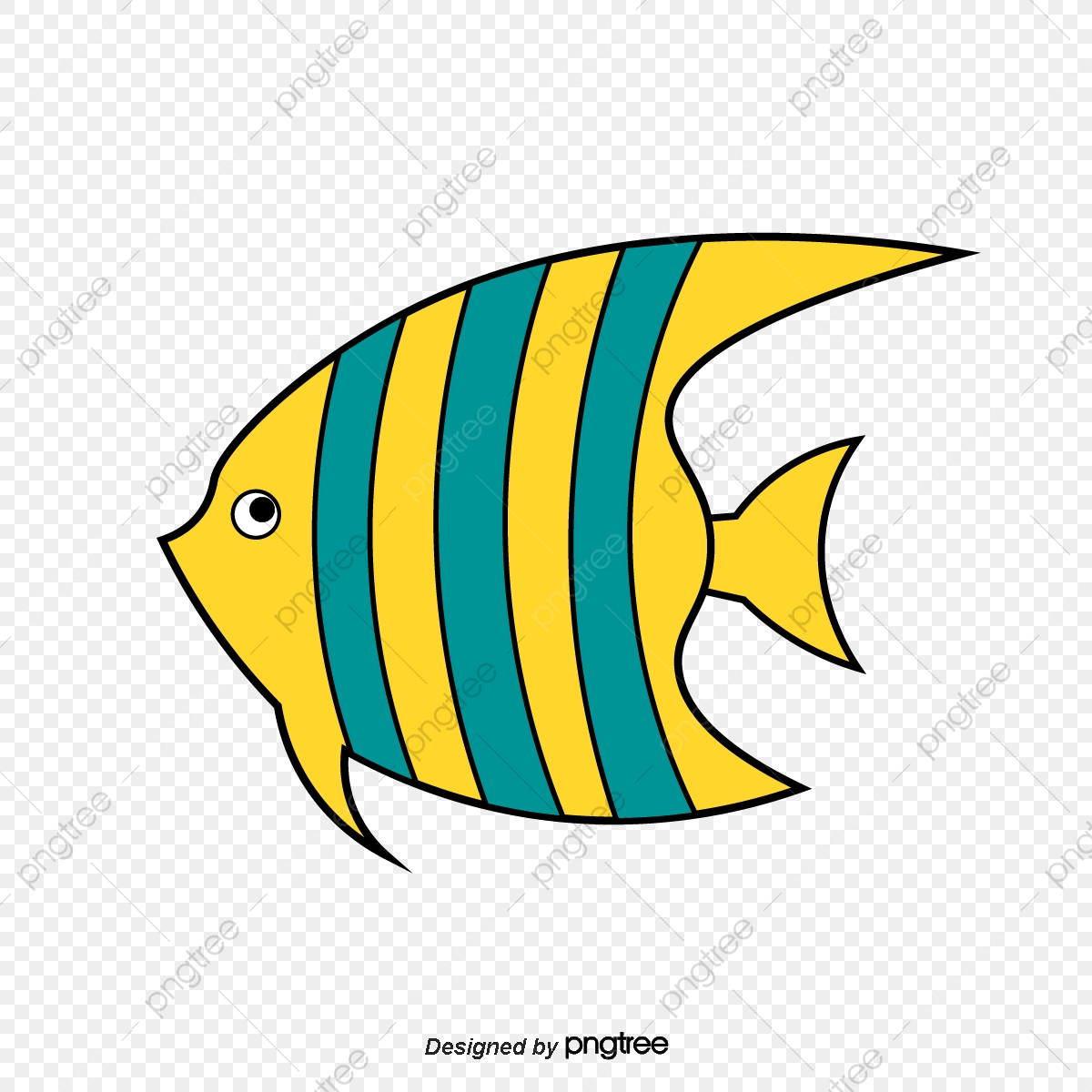 Yellow Cartoon Cute Tropical Fish Cartoon Style Cartoon Fish Lovely Png And Vector With Transparent Background For Free Download