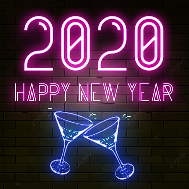 2020 Happy New Year Neon Sign Text Effect PSD For Free ...