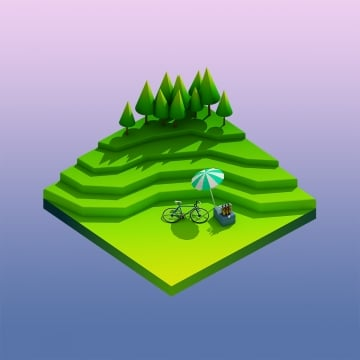 green earth concept in isometric view, Landscape, Nature, Isometric PNG and PSD