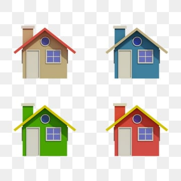 set of four houses with color changes, House, Construction, Isometric PNG and PSD
