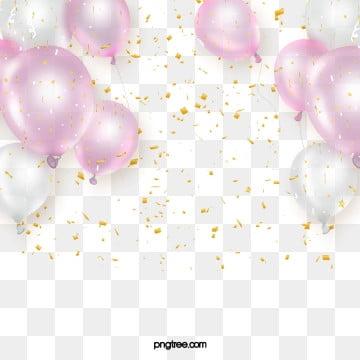 Delicate festa rosa Scrop Balloon, Elementi Di, Di Lusso., Briciole Di Colore PNG e PSD
