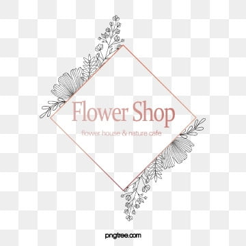 originally hand drawn florist logo, Element, Geometric, Copyrighted PNG and PSD