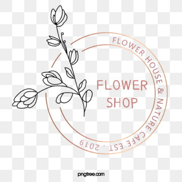 round original simple hand painted flower shop logo, Element, Copyrighted, Leaf PNG and PSD